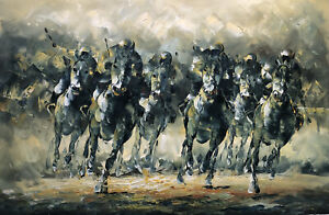 Canvas Wall Art Modern Decor Oil Painting Hand Painted,Horses Racing,91 X 61 cm