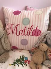 """PERSONALISED Fryetts Pink Patchwork Spot Bobo Shabby Chic Pink 16"""" Cushion Cover"""