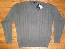 Mens GREG NORMAN COLLECTION Green Cotton V-Neck Sweater Sz M NWT