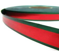 SALE .20/yd! - 5 Yds Christmas Red Dark Green Striped Edge Acetate Satin Ribbon