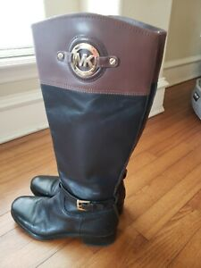 Michael Kors Black Brown Two-Tone Leather Preston Tall Riding Boots 8 M -