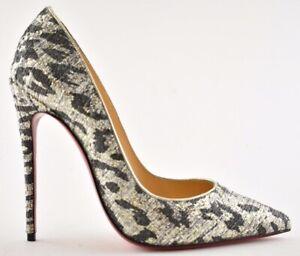 Christian Louboutin So Kate 120 Lurex Gigi Black Silver Gold Heel Pump Shoe 37.5
