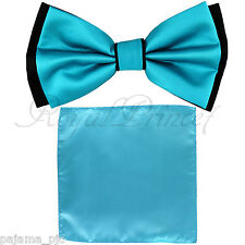 Wedding Black Turquoise Blue Bow tie and Blue Pocket Square Hankie Two Layers