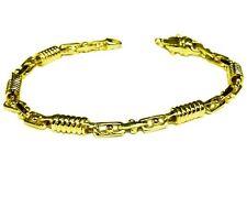 10kt oro amarillo macizo Hecho a mano pulsera de enlace de moda de hombre 7 5 mm 14 gramos