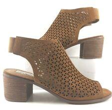 Steve Madden Cognac Suede Deborah Peep Toe Sandals Womens Size US 10M