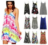 Womens Printed Strappy Cami Swing Sleeveless Ladies Mini Dress Vest Top Summer