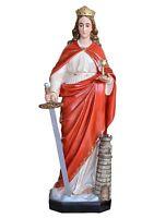 Estatua Santa Barbara Cm.130 Fibra Para Externo de Ojos De Cristal