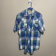 Vintage Stagecoach Blue Plaid Pearl Snap Short Sleeve Cowboy Shirt Mens Sz Large