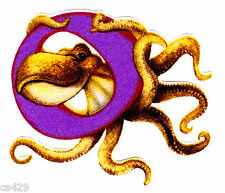 """New listing 3"""" Silly animal letter o octopus alphabet monogram fabric applique iron on"""