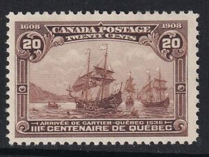 Canada 1908 20c Dull Brown Quebec Tercentenary - SG195 - Mounted Mint
