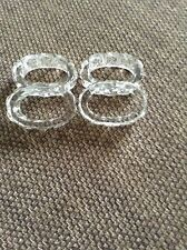VINTAGE /RETRO: 4  OVAL GLASS NAPKIN RINGS DIAMOND SHAPE PATTERN