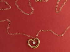9ct yellow gold CZ heart pendant on 9ct gold fine chain 0.90 gram