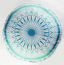 """18"""" Indian Ombre Mandala Ottoman Pouf Cover Footstool Decorative Round Cushion"""