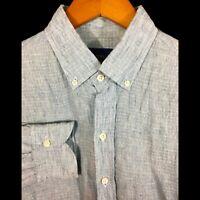 LEDBURY Solid Blue 100% LINEN Mens Luxury Dress Long Sleeve Shirt - 16- 41cm