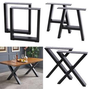 2x Industrial Steel Legs Table Desk Bench Square Box/X Cross/A Shape Frame Legs
