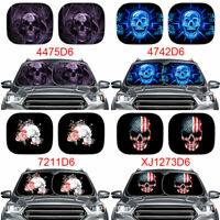 Cool Skull Pattern Car Sun Shade for Windshield Front Rays UV Protection 2 Pack