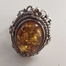 NEW Sterling Silver Amber w/Floral Design Ring Sz 10
