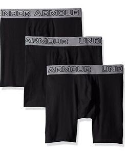 """Under Armour Men's Charged Cotton 6"""" BoxerJock Brief Underwear S, Black 3 Pack"""