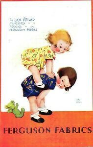 Mabel Lucie Attwell Postcard Advertising Ferguson Fabrics C1930 Nursery Frocks