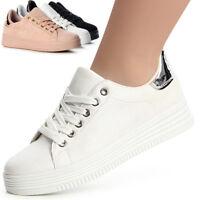 Damenschuhe Sportschuhe Sneaker Skater Freizeitschuhe Turnschuhe Metallic Trendy
