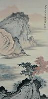 Vintage Chinese Watercolor Landscape Wall Hanging Scroll Painting