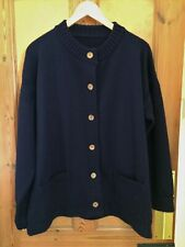 """Vintage Guernsey Navy Wool Cardigan with Wooden Buttons - Ladies Large 48"""""""
