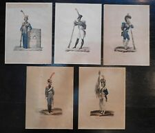 5PC Antique French Delpech Litho Hand Colored Military Uniform ex-Garde Soliders