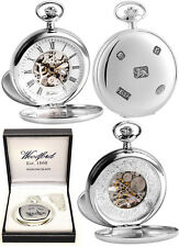 Woodford Sterling Silver 17Jw Twin Lid Skeleton Pocket Watch Free Engraving 1104