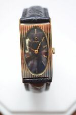 W368-OMega 14K GOLD Watch Leather Strap - Rectangular  Black Dial