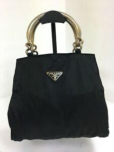 Authentic vintage Prada black nylon leather gold handle tessuto hobo hand bag