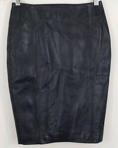 Victorias Secret Womens Black Soft Genuine Leather Pencil Skirt Size 0 Lined