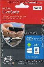 McAFEE LIVESAFE 2016 SECURITY PC MAC iOS ANDROID DEVICES BRAND NEW SEALED RETAIL