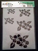Stencil by Aurora Arts A4 Floral flower set 190mic Mylar craft stencil 100