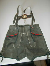 Boys Leather Lederhosen with Straps & Deer Emblem Waist 22""