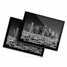 2x Glass Placemats 20x25 cm - BW - 3D Holographic City Urban  #38346