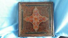 ANTIQUE EARLY VICTORIAN WOOD AND METAL TRIVET STAND INLAYED TREEN
