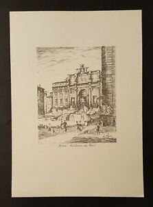 1960's Unframed Etched Copper Plate Ink Print Roma Fontana di Trevi by De Carly