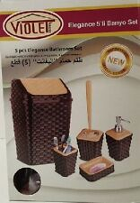 5Pc Elegant Soap Dish Lotion Dispenser Bathroom Bin Brush Accessory Set Brown