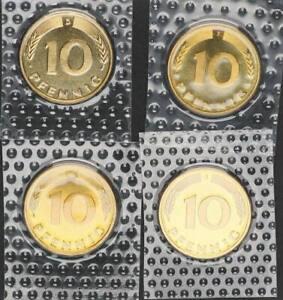 10 Pfennig 1990 D,F,G,J 4 Münzen komplett prfr.-st 56658