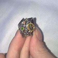 Einzigartig schöner , handgemachter Ring mit schwarzem Opal , Chromdiopsid & Ame