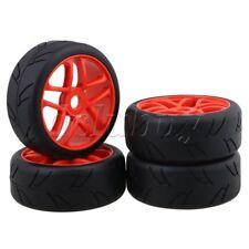 4x RC1:8 Off-Road Car Black H Pattern Rubber Tyre+ Red 5 Spoke Wheel Rim