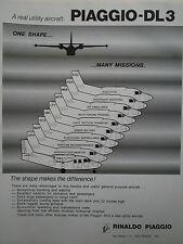 5/1982 PUB RINALDO PIAGGIO DL3 AVION MULTIMISSION AIRCRAFT ORIGINAL AD