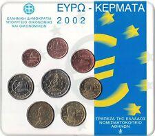 Grecia Moneda Euro Set oficial 2002 nuevo BUNC todas las monedas de 1 Centavos a 2 € En Blister