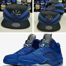 fe6251b3cb715 Matching Mitchell Ness G.S. Warriors snapback Hat for Jordan 5 Royal Blue  Suede