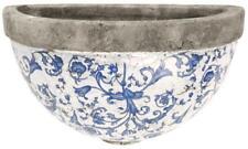 Antiqued Blue & White Ceramic Plant Flower Herb Garden Wall Planter Pot