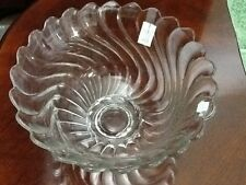 Vintage Fostoria Crystal Old Colony Heavy Crystal Clear Glass Swirl Punch Bowl