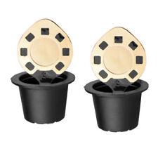 2 Acciaio Inox Riutilizzabile Capsule Caffè W/ Cucchiaio per Nespresso Gusto