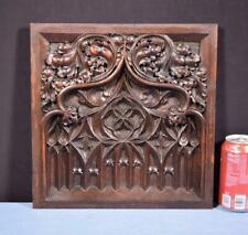 *French Antique Deeply Carved Gothic Panel in Solid Walnut Wood Salvage