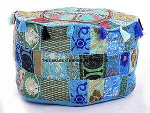 Bohemian Patchwork Pouf Ottoman Turquoise Vintage Indian Moroccan Bean Bag