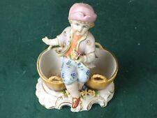 Porzellan 2 Schalen Zier Behälter 2er Menage Schale mit Figur Junge Bonboniere